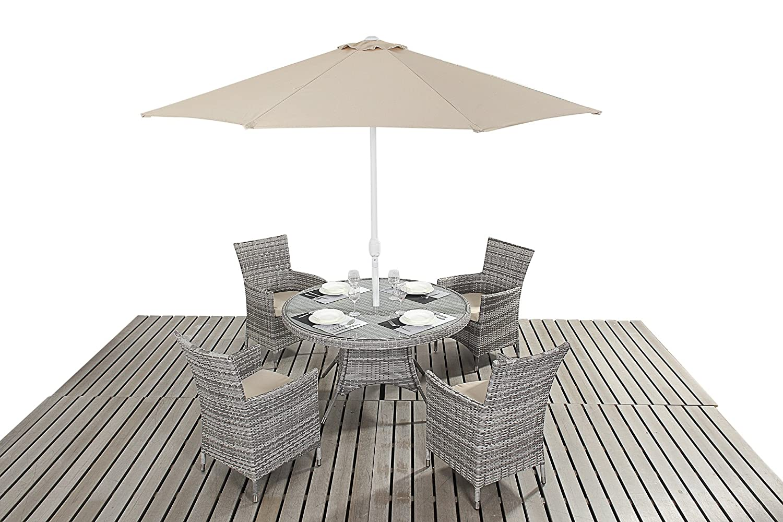 Dallas Rustikal Garten Möbel 4-Sitzer-rund Esstisch Stühle, Set