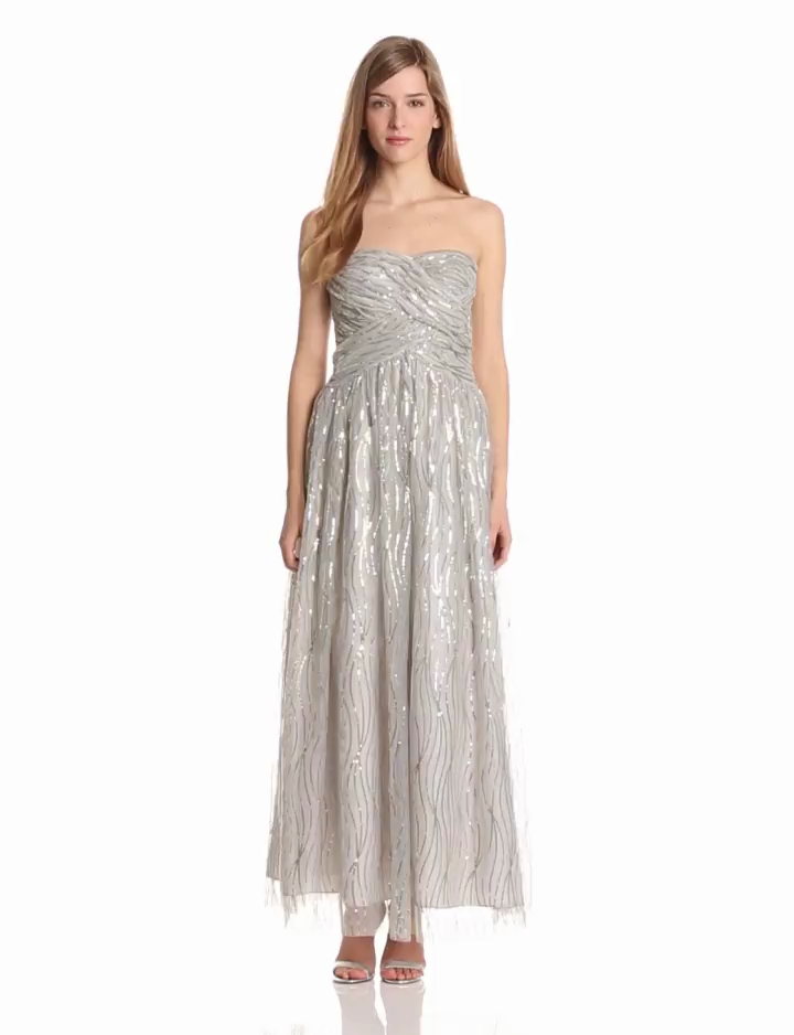 Hailey by Adrianna Papell Womens Dresses Sequin Mesh Ballgown, Silver/Gold, 2