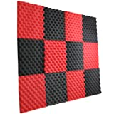 New Level 12 Pack- Red/Charcoal Acoustic Panels Studio Foam Egg Crate 1