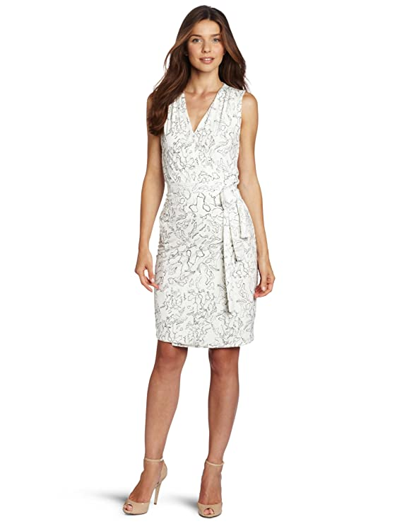 Anne Klein Women's Petite Lion Print Wrap Dress