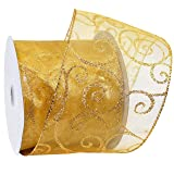 Morex Ribbon Swirl Wired Sheer Glitter Ribbon, 4-Inch by 25-Yard Spool, Gold/Gold (Color: Gold, Tamaño: 4 Inch By 25 Yards)