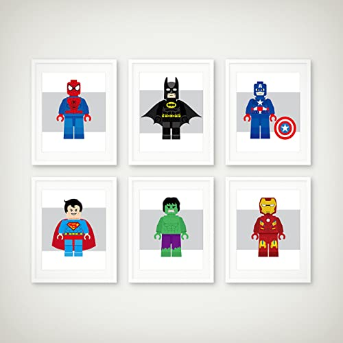 5x78x1011x4 Superhero Art Print Set of 6 Toddler Room Decor Childrens Wall Art Toddler Art