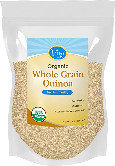 Viva Labs - The FINEST Organic Quinoa, 100% Royal Bolivian Whole Grain, 4 LB Bag