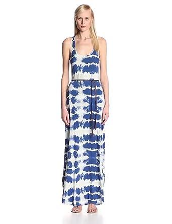 Corey Lynn Calter Women's Marissa Tie-Dye Jersey Peekaboo Back Tank Maxi Dress, Denim, Small