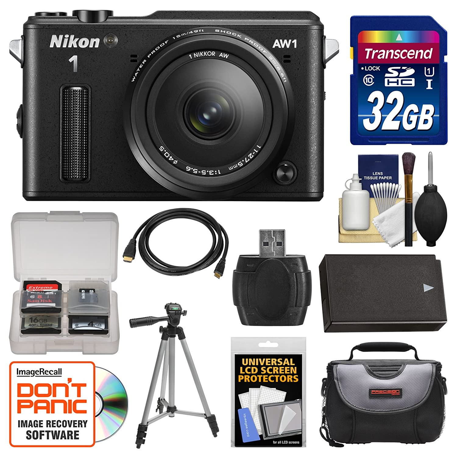 Nikon 1 AW1 Shock & Waterproof Digital Camera Body with AW 11-27.5mm Lens (Black) with 32GB Card + Case + Battery + Tripod Kit