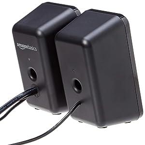 AmazonBasics Computer Speakers for Desktop or Laptop PC | AC-Powered (US Version) (Color: Black)