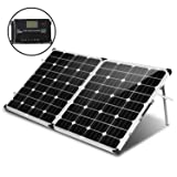 KOMAES 160 Watt 12V/24V Monocrystalline Portable Folding Solar Panel Suitcase Energy-efficient Technology Includes PWM Controller, Padded Bag (Color: 160W, Tamaño: 160W)