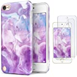 iPod Touch 7th Generation Case with 2 Screen Protectors, IDWELL iPod Touch 6 Case, iPod 5 Case, Slim FIT Anti-Scratch Flexible Soft TPU Bumper Hybrid Shockproof Protective Cover, Purple Clouds (Color: Purple Clouds)