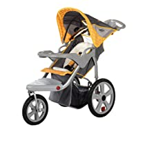 Gray/Yellow Grand Safari Swivel Wheel Single Jogger