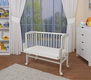WALDIN Baby Bedside Cot Co Sleeper height adjustable,untreated or white       Babyreviews and more description