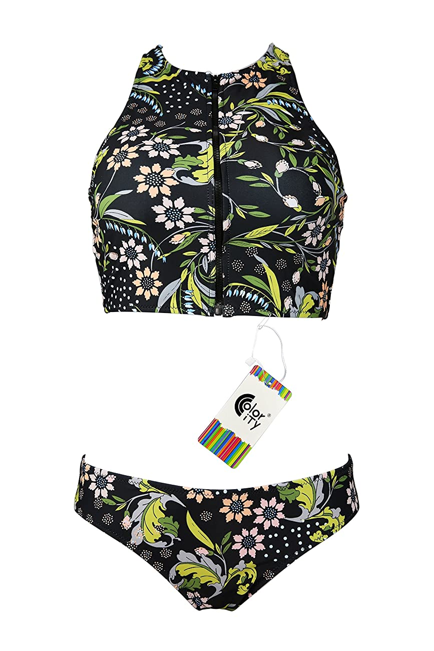 Color City Women Vintage Floral Zipper High Neck Bikini Beachwear Swimsuit 0