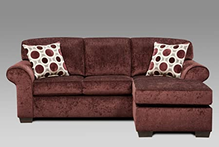 Roundhill Furniture Fabric Sectional Sofa with 2 Pillows, Prism Elderberry