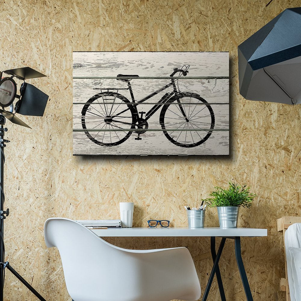 Bicycle bike silhouette artwork rustic canvas wall art for Bicycle decorations home