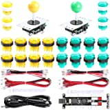 Easyget 2-Player DIY Arcade Kit Zero Delay 2-Player USB Encoder + 2X Joystick + 20x LED Arcade Buttons for PC, Windows, MAME, Mac & Raspberry Pi Retro Gaming DIY (Yellow & Green) (Color: Yellow & Green)