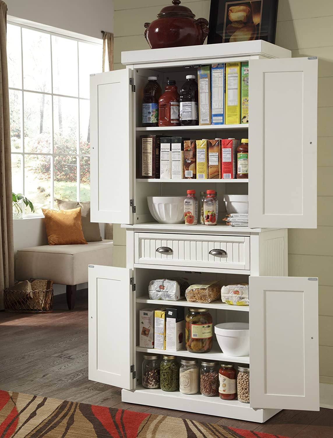 Pantry cabinet kitchen pantry cabinets freestanding with for Amazon kitchen cabinets