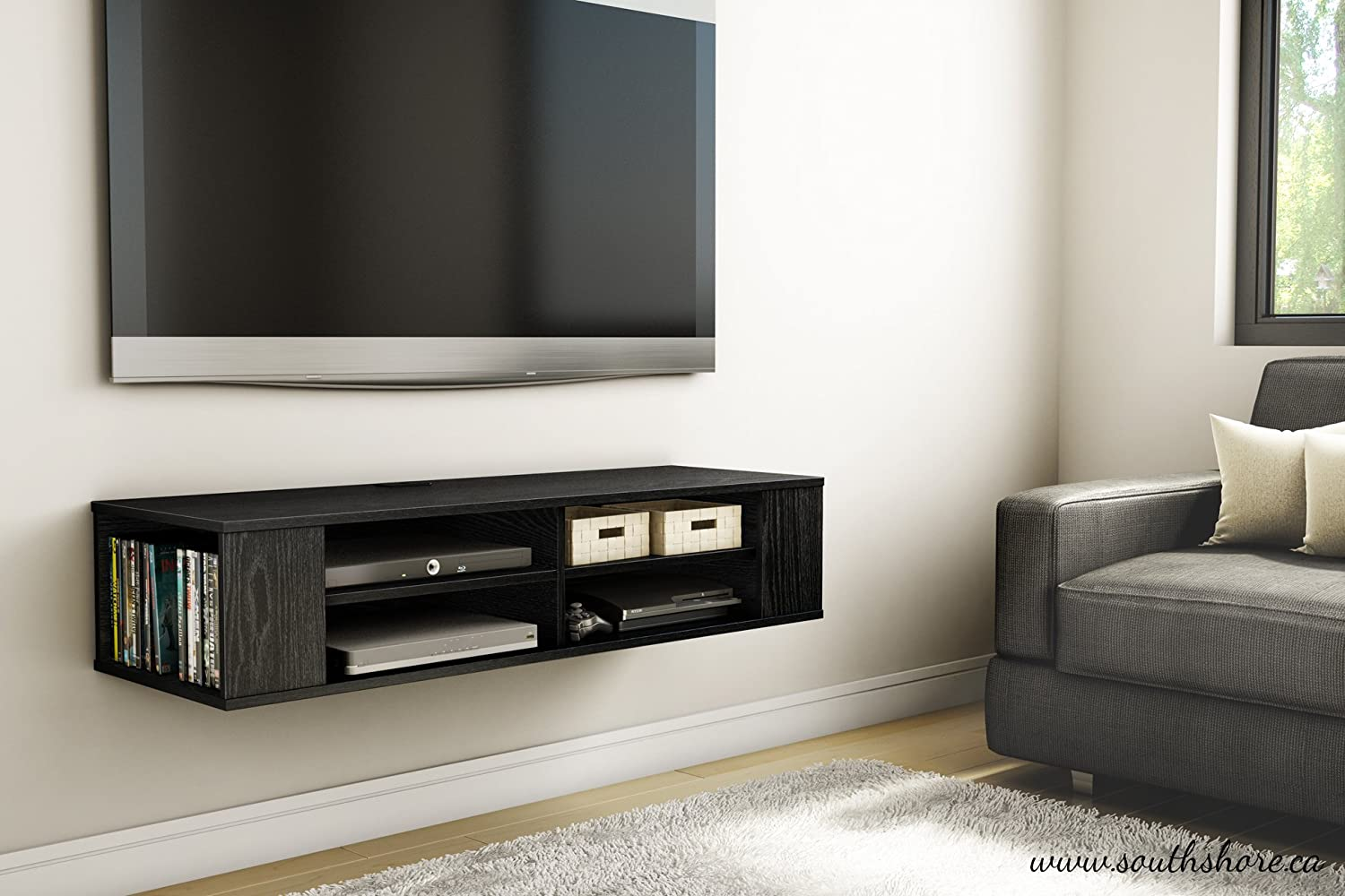 tv floating media console wood wall mounted storage. Black Bedroom Furniture Sets. Home Design Ideas