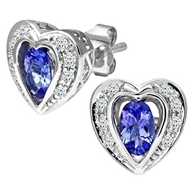 Naava 9 ct White Gold Tanzanite and Diamond Heart Earrings