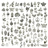 Wholesale Bulk Lots Jewelry Making Silver Charms Mixed Smooth Tibetan Silver Metal Charms Pendants DIY for Necklace Bracelet Jewelry Making and Crafting, JIALEEY 100 PCS (Color: 100 Pcs Mixed)