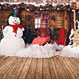 SJOLOON 10x10ft Christmas Photography Backdrops Snowman Background Holiday Vinyl Wooden Photo Backdrops Studio 11204 (Color: 11204, Tamaño: 10X10FT)