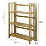 Casual Home 3 Shelf Folding Stackable Bookcase, Natural