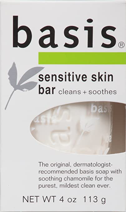 Basis Sensitive Skin Bar, Cleans + Soothes, 4-Ounce Bars (Pack of 6)