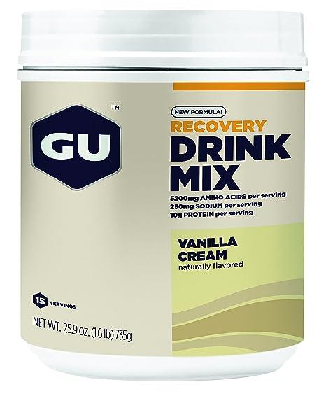 GU Recovery Drink Mix, Vanilla Cream (Vanille) - Kohlenhydrat-Protein-Getränkepulver, 750 g Dose