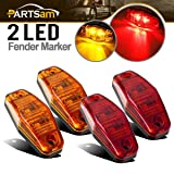 Partsam (2 Amber + 2 Red) 2.54x1.06 side marker light (amber/red lens) Truck Trailer Lights Clearance Universal, Surface Mount Mini Rectangle LED Marker Clearance Identification Lights Boat Marine (Color: amber/red lens)
