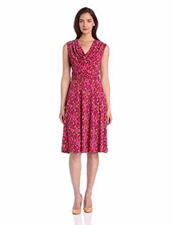 Jessica Howard Women's Cap Sleeve Drape Neck Fit and Flare Dress, Multi, 16
