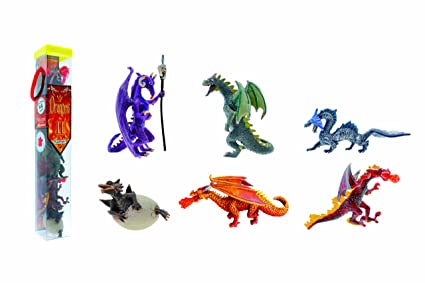 Plastoy - 70366 - Mini Figurines-Tubo Dragons N°2 6 Figurines