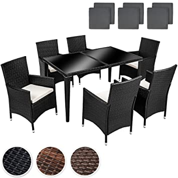TecTake POLY Rattan Aluminium garden furniture dining set 6+1 seater + 2 sets for exchanging the upholstery, stainless steel screws - different colours - (Anthracite | No. 400873)