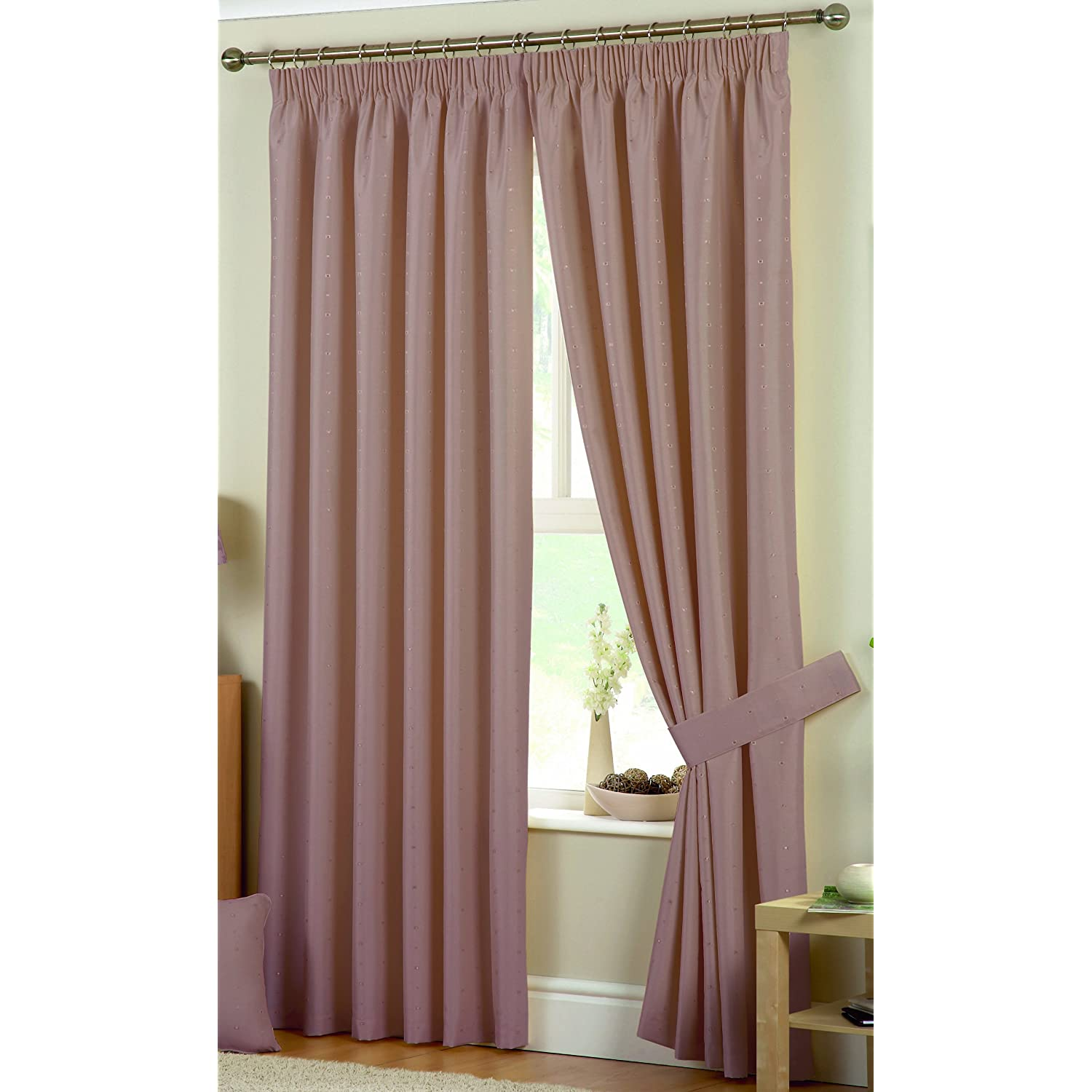 Curtina hudson eyelet lined coffee bedroom living room curtains 66 x 72cm ebay for Lined valances for living room