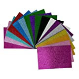 EVA Glitter Adhesive Foam Sheets, 30 Pack, 6 x 9 Inches, 1.8 MM Thick, 15 Colors, 2 Sheets Each Color, for Classroom Project, Scrapbooking, DIY Art, Party, Children Craft Activities