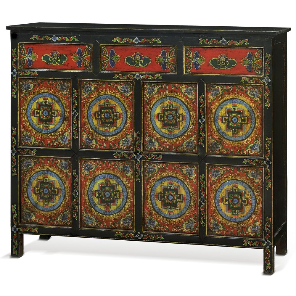 China Furniture Online Elmwood Cabinet, Hand Painted Floral Motif Tibetan Style High Chest Distressed Red and Black 0