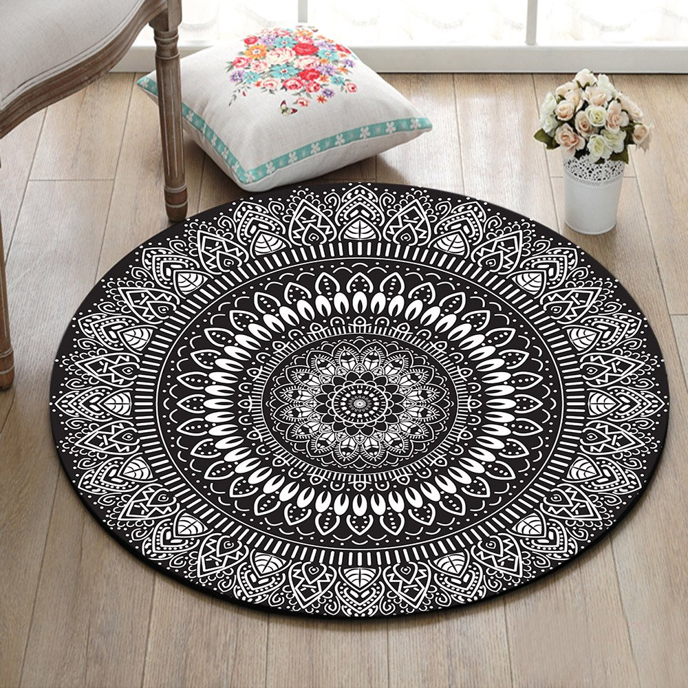 Black White Round Mandala Area Rug Mat By Lb Indian Oriental