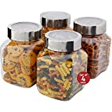 Plastic Storage Jars With Lids; Milton Food Storage Containers 4 Pack 67 oz. Clear Square Lightweight PET Canisters;Wide-Mouth, Airtight Lids Caps; Large Big Clear Empty Multi-Purpose Jars BPA Free (Color: Pet, Tamaño: 4 pc. set - 67 oz.)