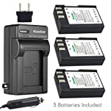 Kastar Battery (3-Pack) and Charger Kit for Nikon EN-EL9, EN-EL9a, MH-23 work with Nikon D3000, D5000, D40, D60, D40X SLR Cameras (Tamaño: 3 batteries + 1 charger)