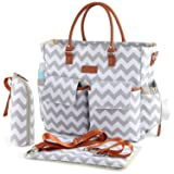 Kattee Chevron Diaper Bag Baby Nappy Tote Bag with Changing Pad & Bottle Holder White & Gray (Color: White & Gray, Tamaño: Large)