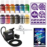 Master Airbrush Cake Decorating Airbrushing System Kit with a Set of 12 Chefmaster Food Colors, Gravity Feed Dual-Action Airbrush, Air Compressor, Wilton Stencils and How-To-Airbrush Guide Booklet