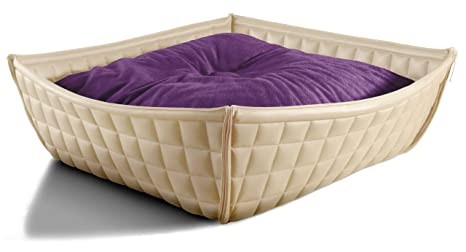Pet Interiors – Bowl Design gatto cestino – cani per letto in vera pelle con orthopädischem cuscino, 75 x 75 cm