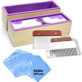 Silicone soap molds kit - 2 Pcs Flexible Rectangular Soap Silicone Mold with Wood Box, Stainless Steel Wavy & Straight Scraper for Soaps Making (Color: molds- A)