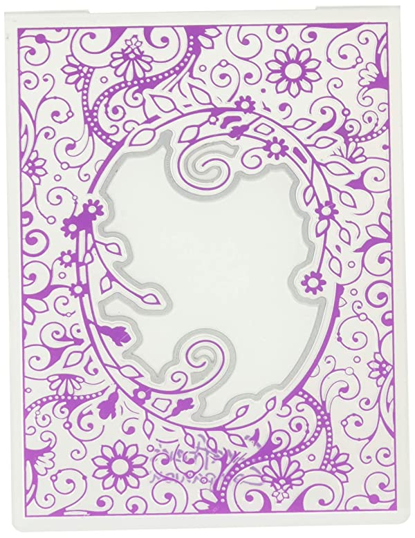 Die'sire CC-CEF-PFL Embossing Folder with Die, Clear/Silver (Color: Clear/Silver)
