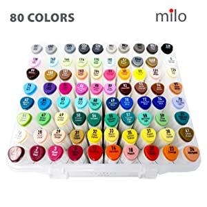 MILO 80 Art Marker Set Dual Tip Artist Markers   Bullet Tip and Chisel Tip   Alcohol Based Coloring Markers   Includes Marker Storage Box Carrying Case