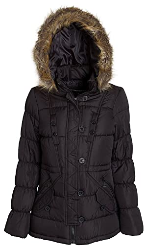 (9171) Urban Republic Womens 31 Inch Poly-Filled Puffer Anorak Jacket With Detachable Faux Fur Trimmed Hood in Black Size: 1X