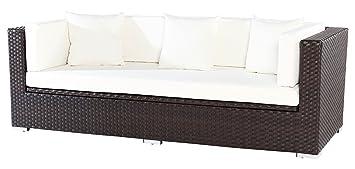 OUTFLEXX 3-Sitzer Sofa aus robustem Polyrattan in braun mit Kissenboxfunktion inkl. Kissen-Polster, 210 x 85 x 70 cm, Lounge Sofa Gartencouch fur 3 Personen, wetterfest, vielseitig kombinierbar