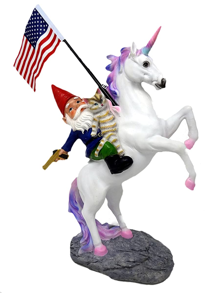 Funny Guy Mugs Garden Gnome Statue - The Ultimate Trio: Cat, Gnome & Unicorn Statue - Indoor/Outdoor Garden Gnome Sculpture for Patio, Yard or Lawn