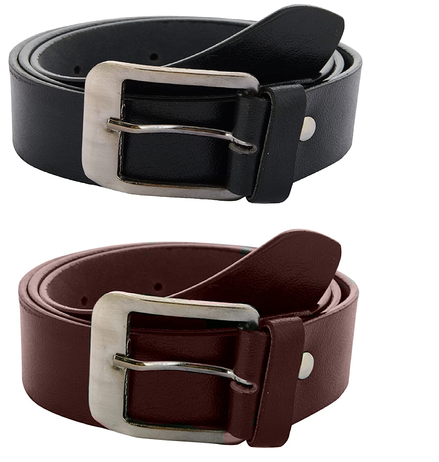 Zacharias Men's Combo of 2 Belts Black & Brown low price