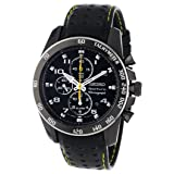 Seiko Sportura Black Dial Black Leather Band Mens Watch (Color: Black)