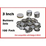 3 Inch Diameter 100 Pack Metal Round Buttons Parts - Metallic Badge Making Supplies