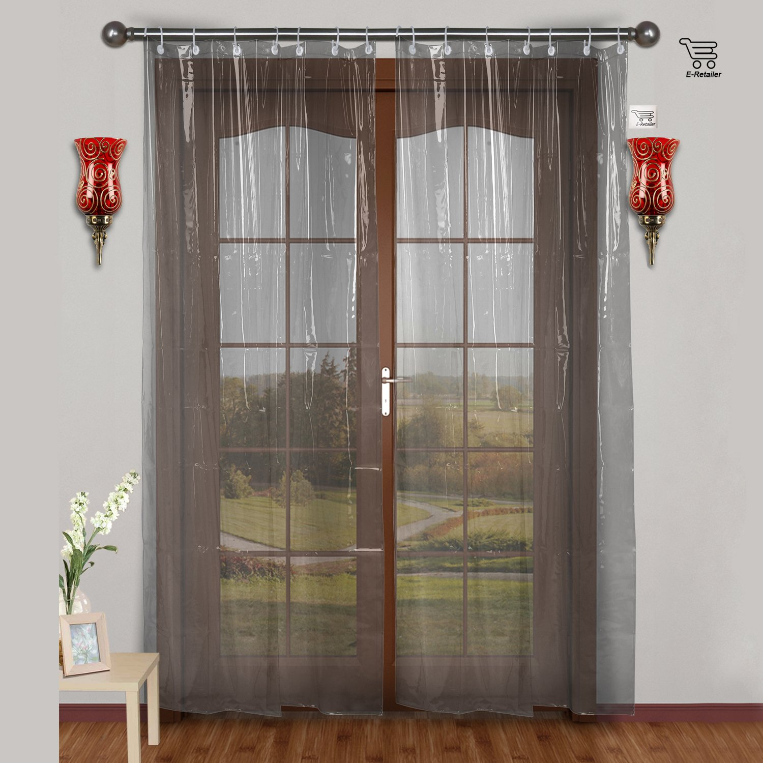 Green indian curtains - E Retailer 0 30mm Pvc Ac Transparent Curtain Width 54inches X Height