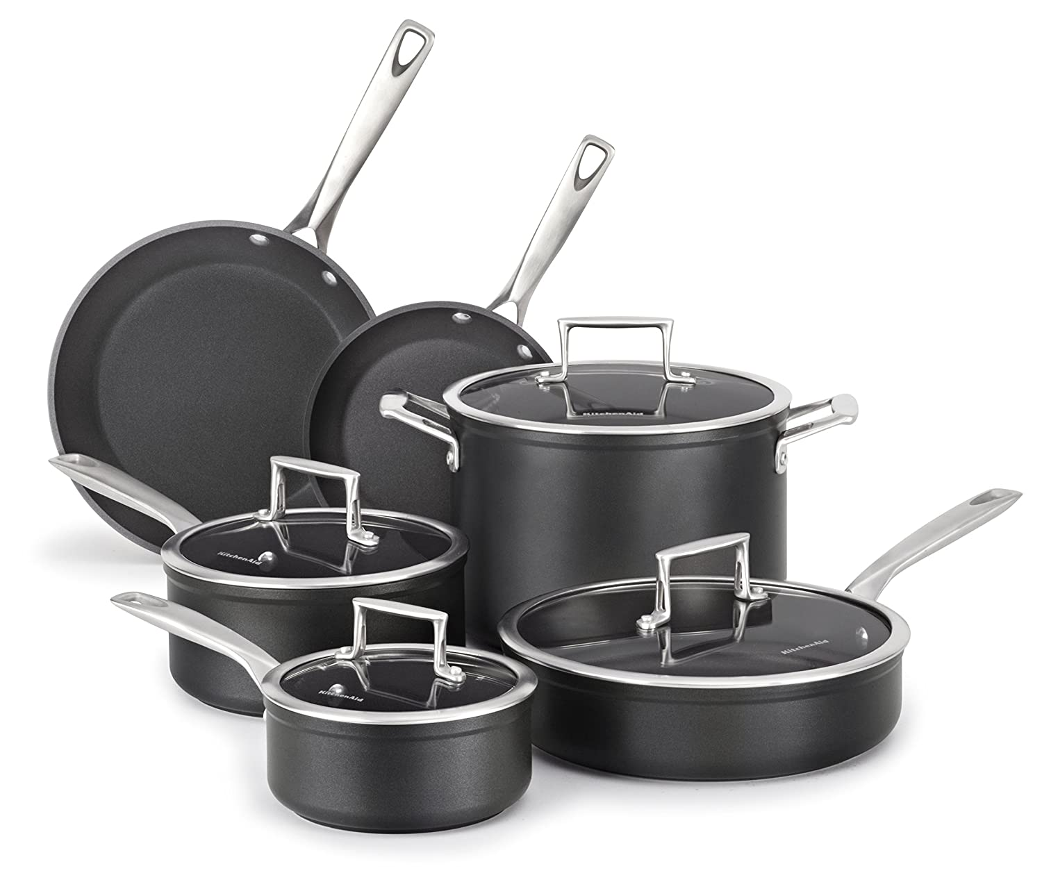 KitchenAid KCH2S10KM Professional Hard Anodized Nonstick 10-Piece Cookware Set - Black Via Amazon